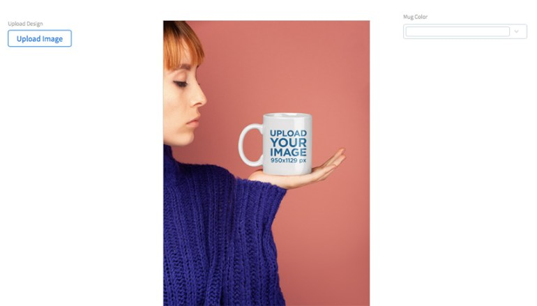 Coffee Mug Mockup Held by a Woman Wearing