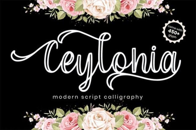 Phông chữ thư pháp Ceylonia với dấu gạch chéo