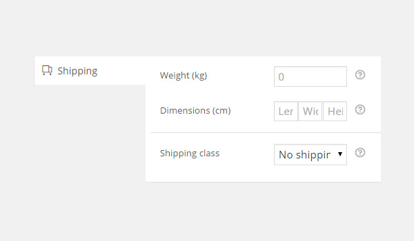 Shipping tab options