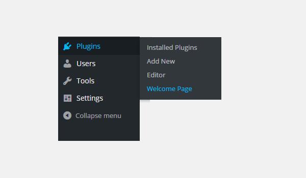 welcome page sub-menu