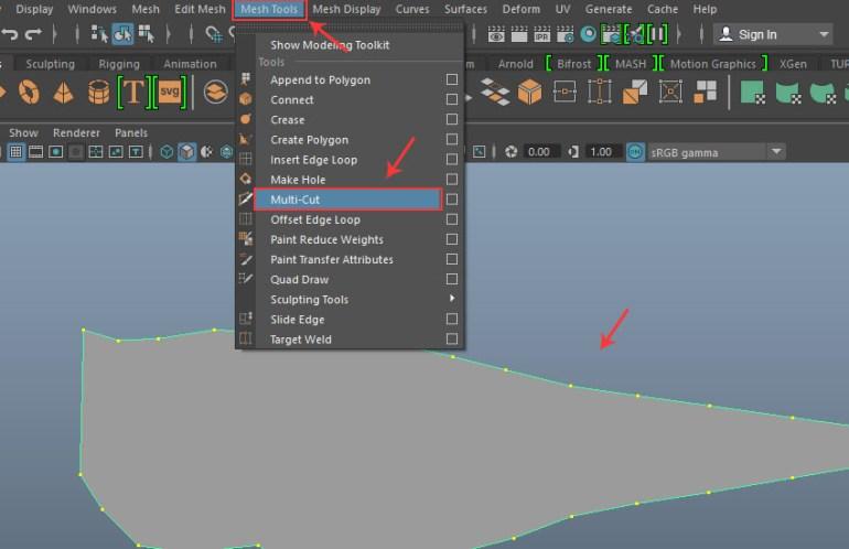 Mesh Tools  Multi-Cut tool