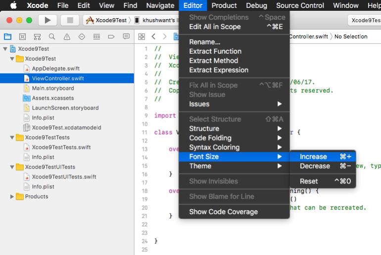 Font size shortcuts
