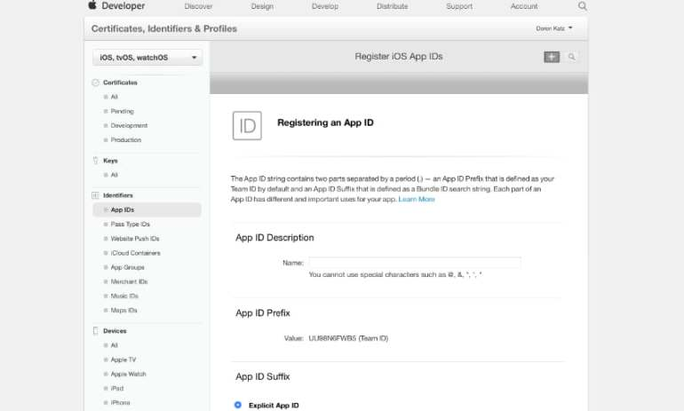 Register App ID in Developer Portal