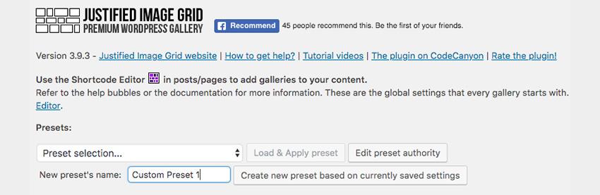Create new gallery preset