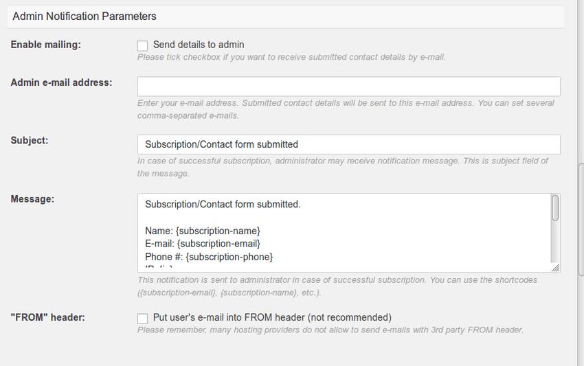 Admin notification options