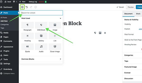 Adding new gutenberg block