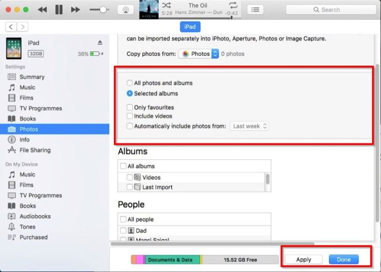 sync photos manually with itunes