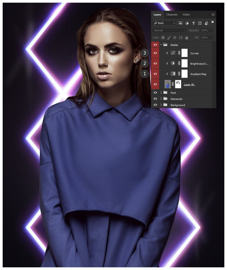 Color correction adjustment layers for model