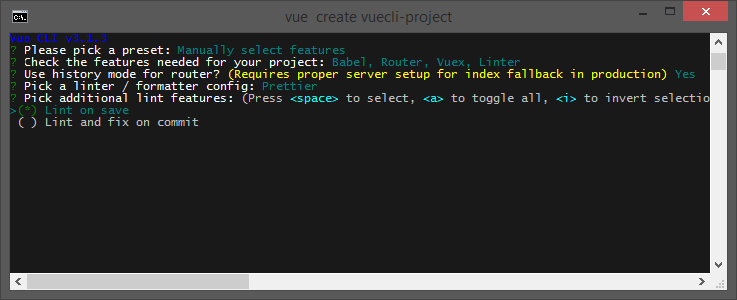 Create a project with Vue CLI Additional lint features