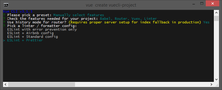 Create a project with Vue CLI Pick a linter