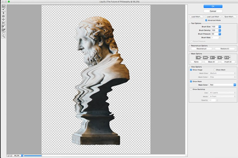 Use the forward warp tool to create waves on the bust image