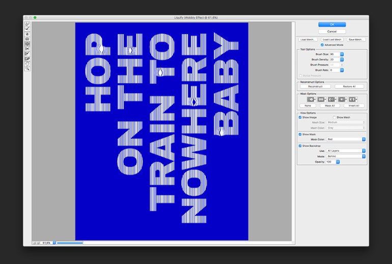 Use the Liquify tool on the newly merged layers Use the Bloat tool to open up spaces in between the lines