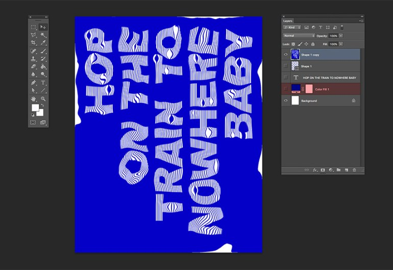 Using the liquify tool can scrunch the layers Activate the Color Fill layer to fill the background