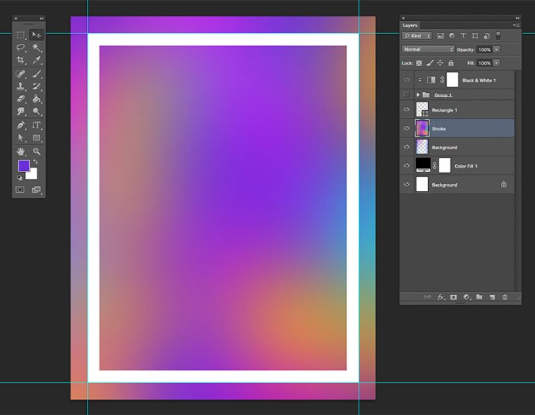 Using the rectangle tool creae a rectangle around the perimeter of the document