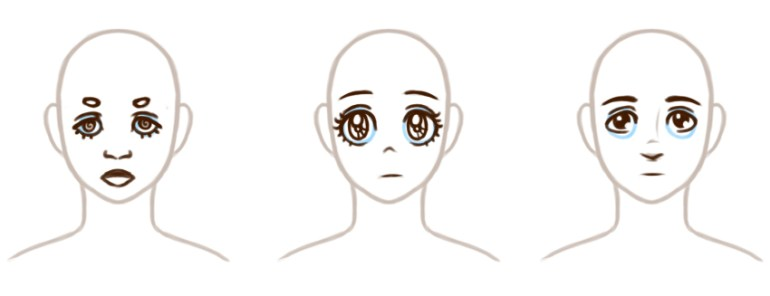 Adding eye brows and other facial elements