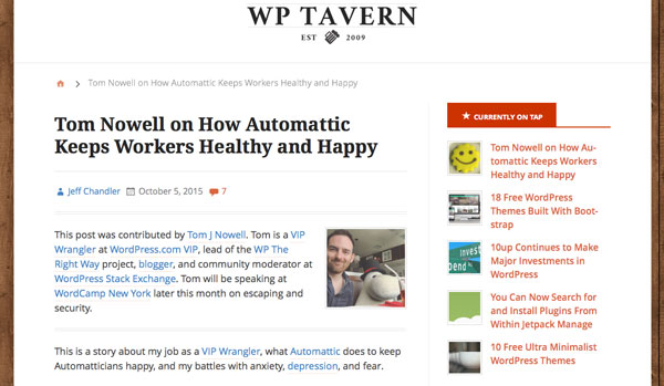 WP Tavern - article on working at Automattic by Tom Nowell