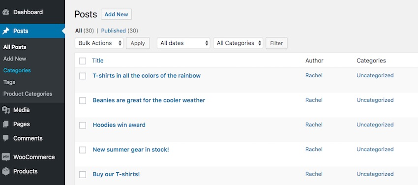 Product categories correctly labelled in the admin menu