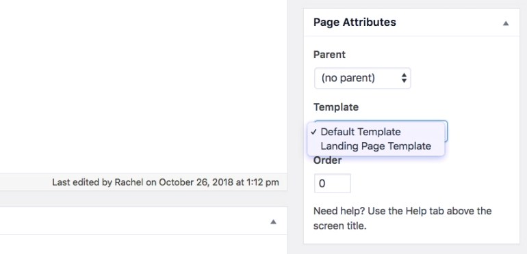 Picking a page template in the page editing screen