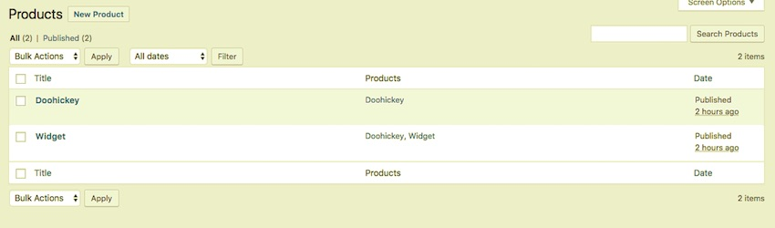 The products in the WordPress admin