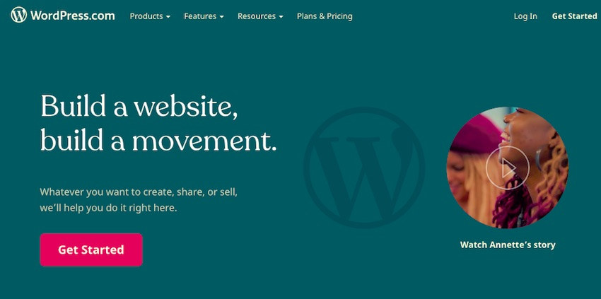 WordPresscom site - blue background to page and menu