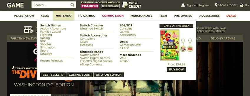 game website with mega menu for nintendo section showing