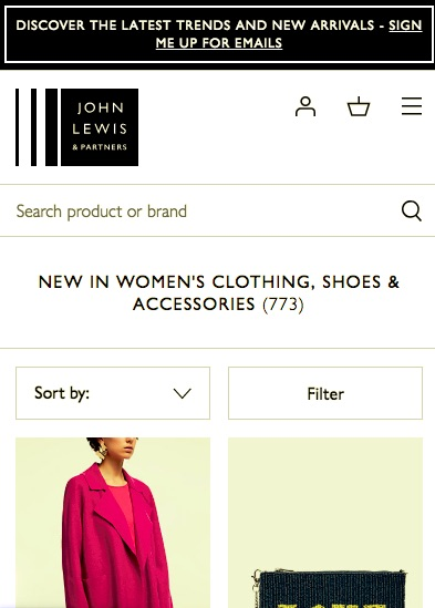 The John Lewis website on mobile with a burger menu in the tip right hand corner