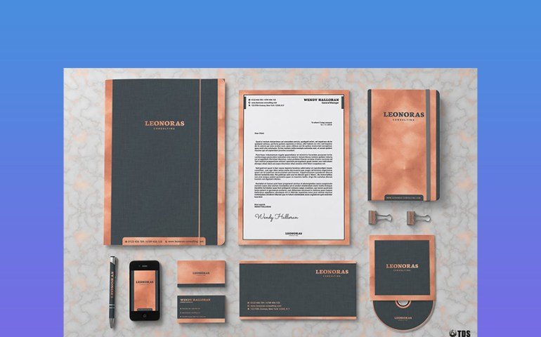Rose Gold Corporate Branding Kit Template