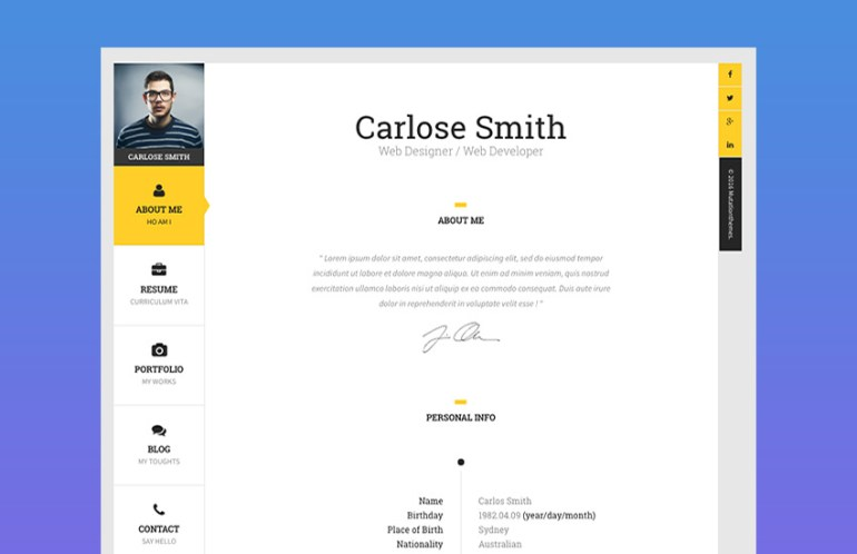 The Book Personal Resume Website Template