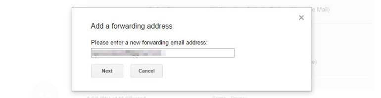 Enter the email address that will receive your forwarded email