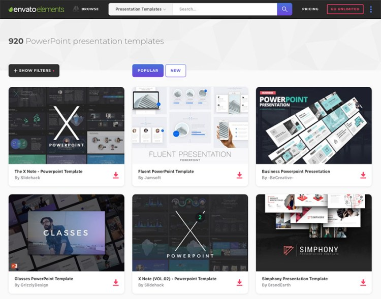 Hundreds of PowerPoint models graphs on Envato elements