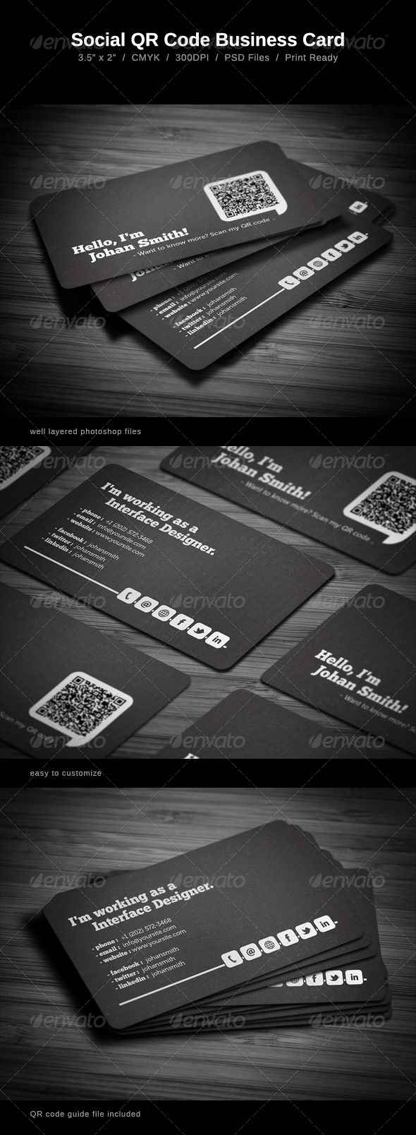 Business card QR back of card template