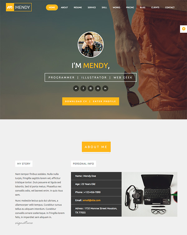 Personal one page resume website template