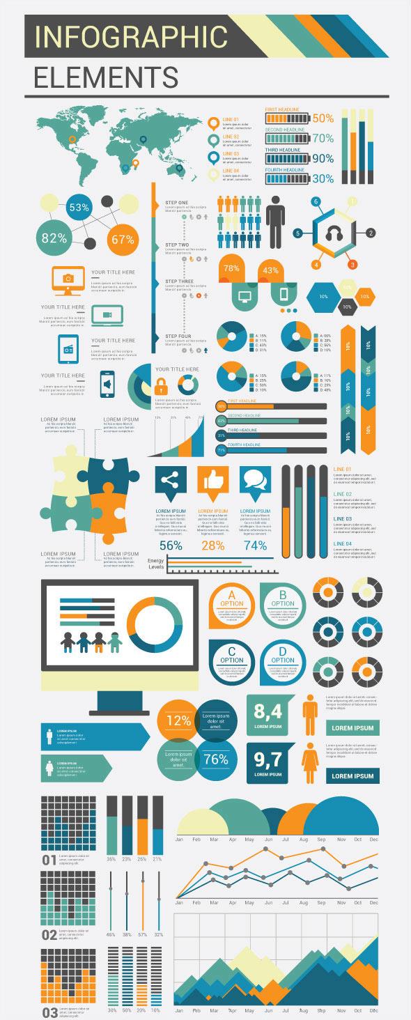 Elementi di design piatto infografica modello