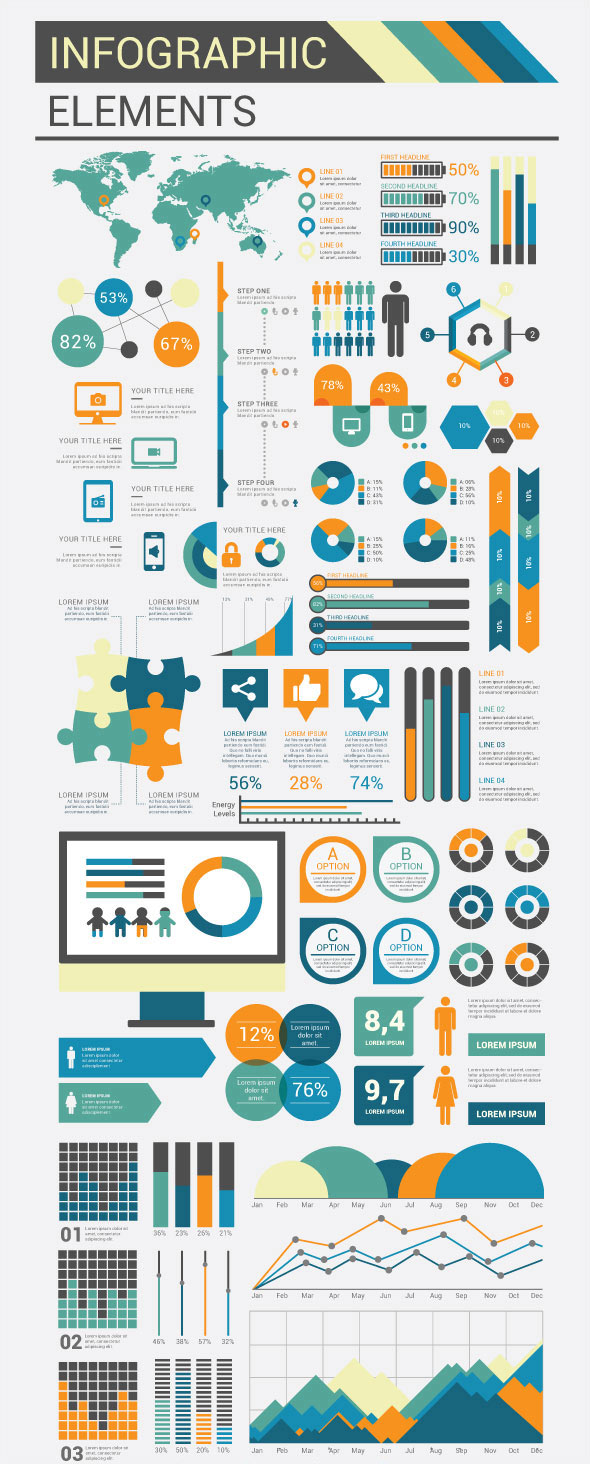 Design elements Flat infographic model