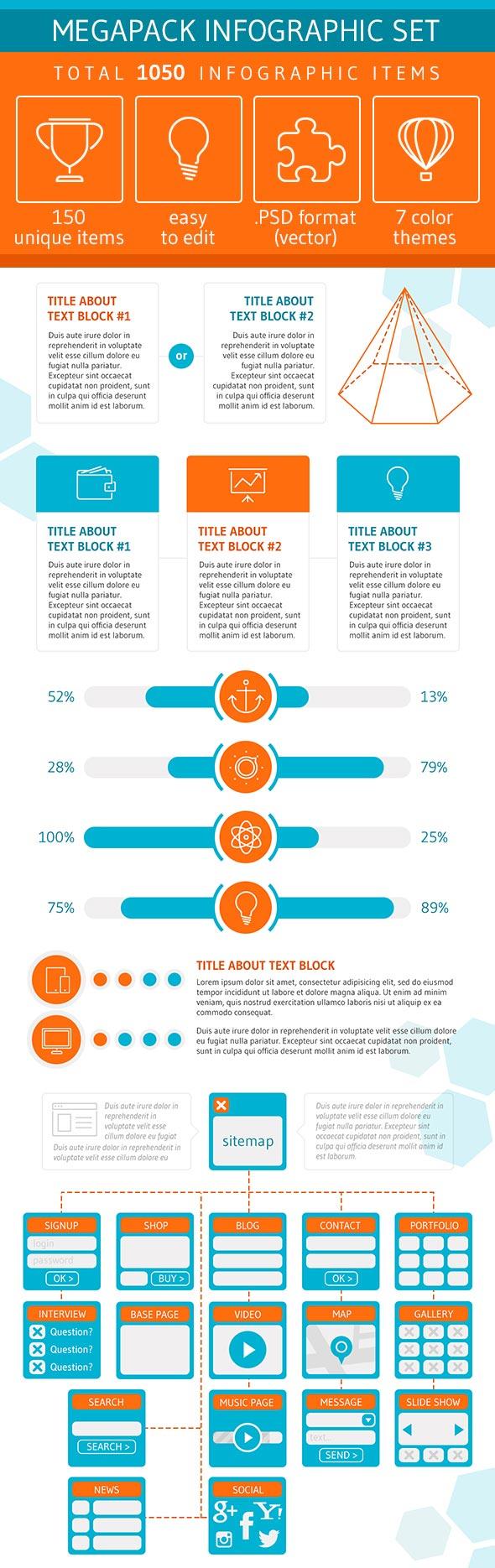 Set di modelli di infografica Megapack