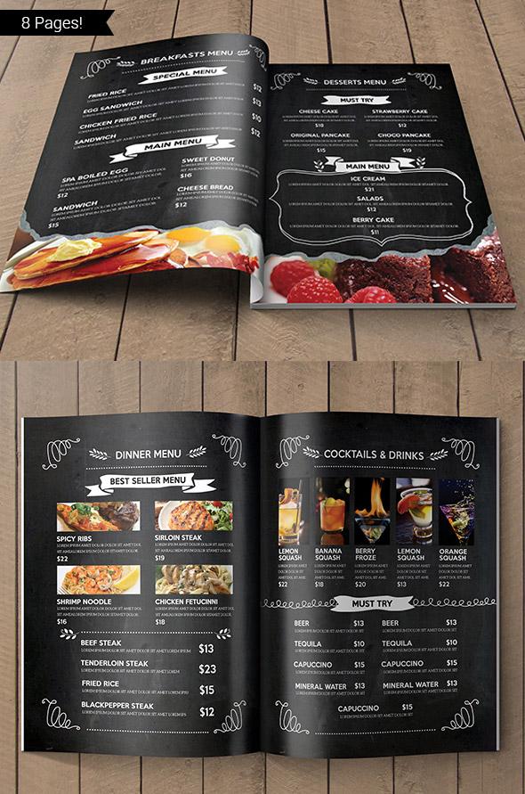 Blackboard Restaurant Menu Design