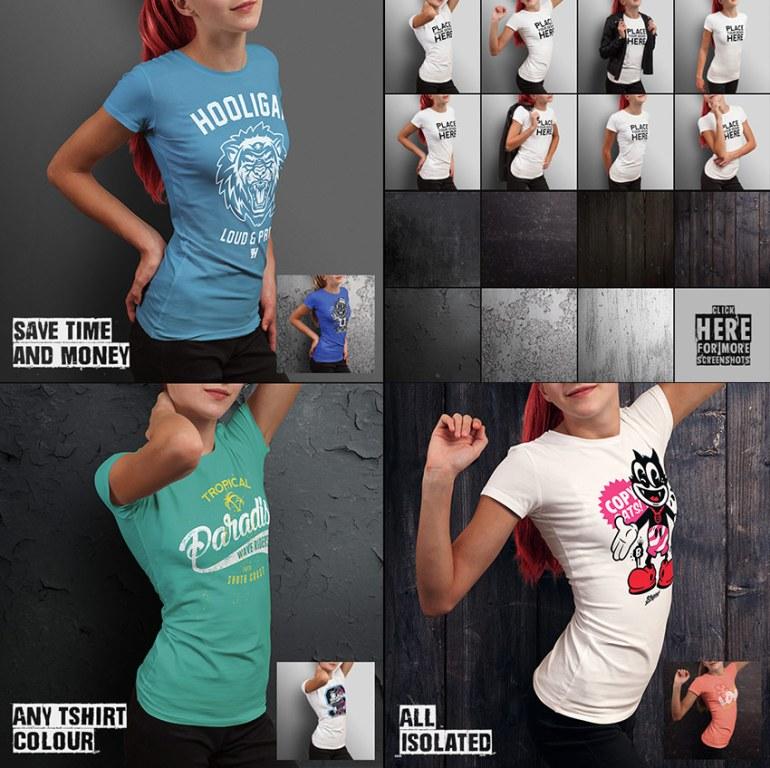 Teenage Girl T-shirt Mockup Photoshop Designs