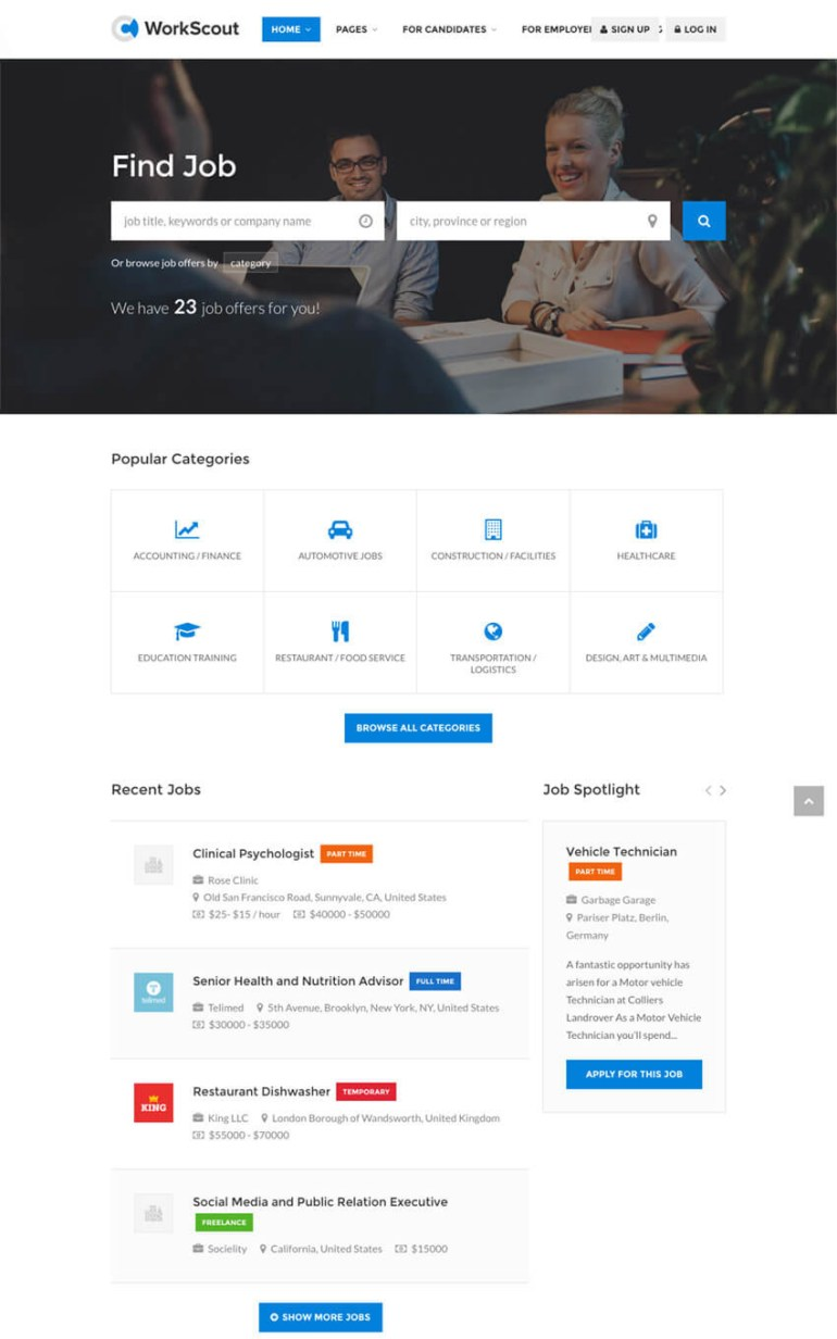 Workscout Job Board WordPress Directory Theme