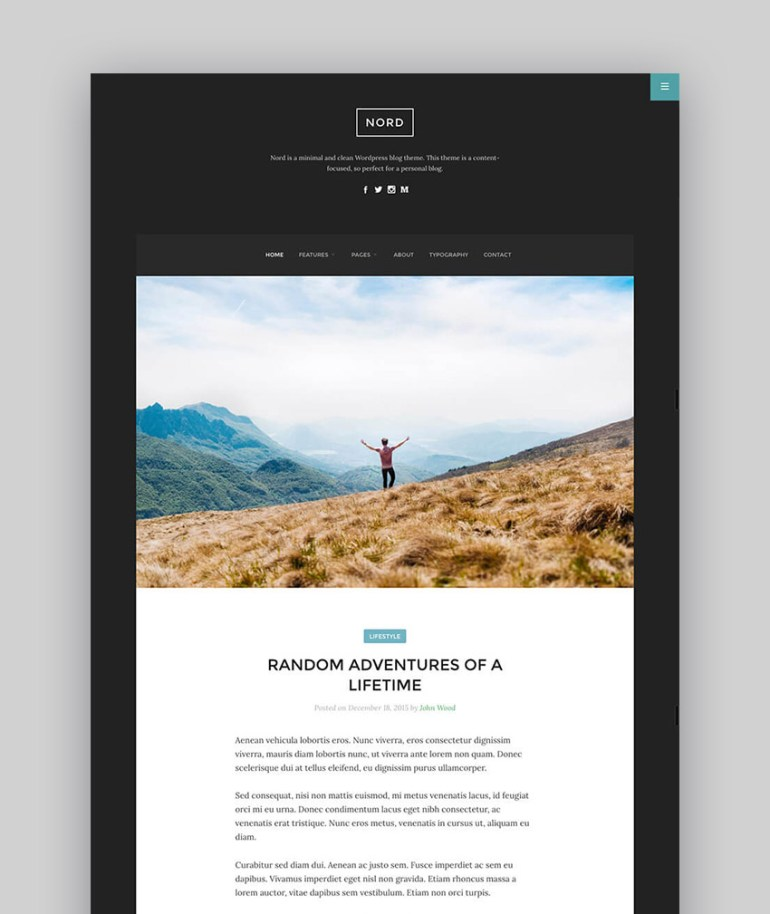 Nord - Minimal WordPress Writer Theme With Great Readability