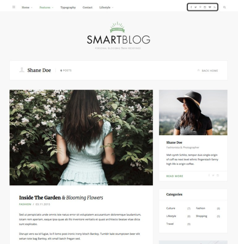 SmartBlog WordPress writer theme with social media integration