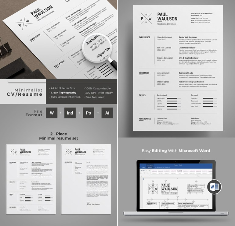 Minimal Professional Resume Template Word Design