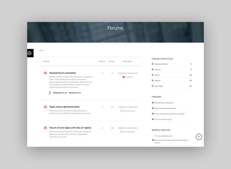Sentric knowledge-base WordPress theme with forum example