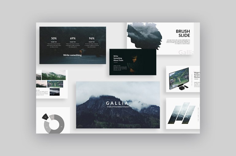 Cool Google Slides theme Gallia with fresh 2017 presentation design