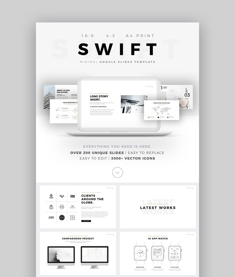 Swift Minimal Cool Google Presentation Template for 2017