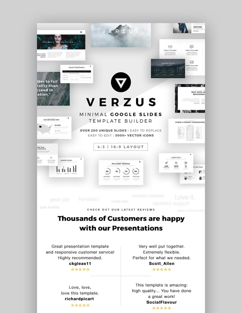 Verzus Minimal Google Slides Template Design
