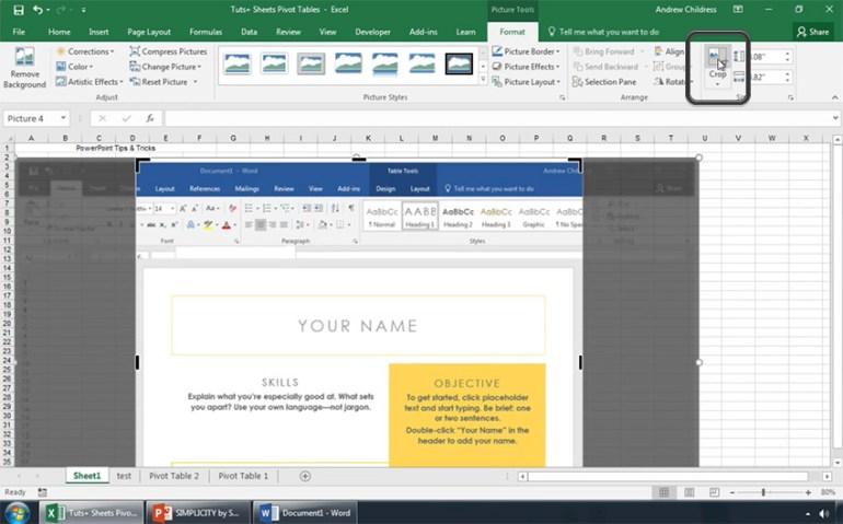 Apply Crop to your Excel Screenshot