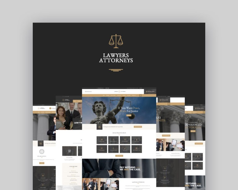 Lawyer Attorneys WordPress theme page designs