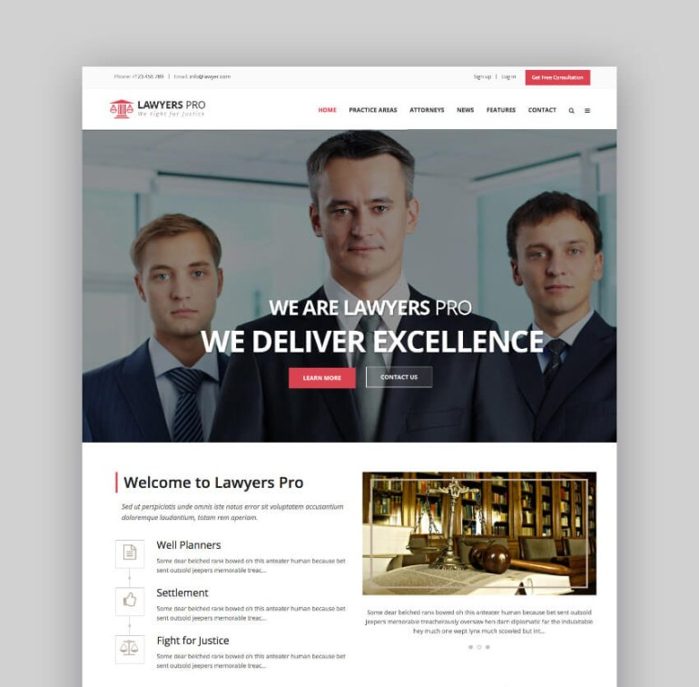 Lawyer Pro WordPress website theme