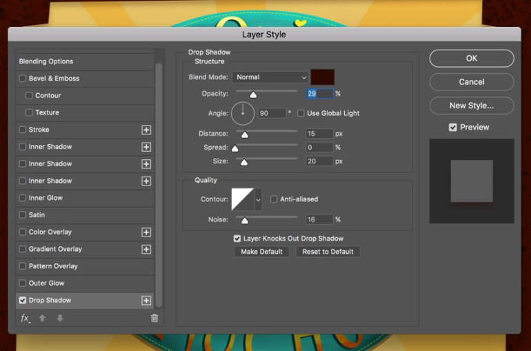 Layer Blending Options Drop shadow settings
