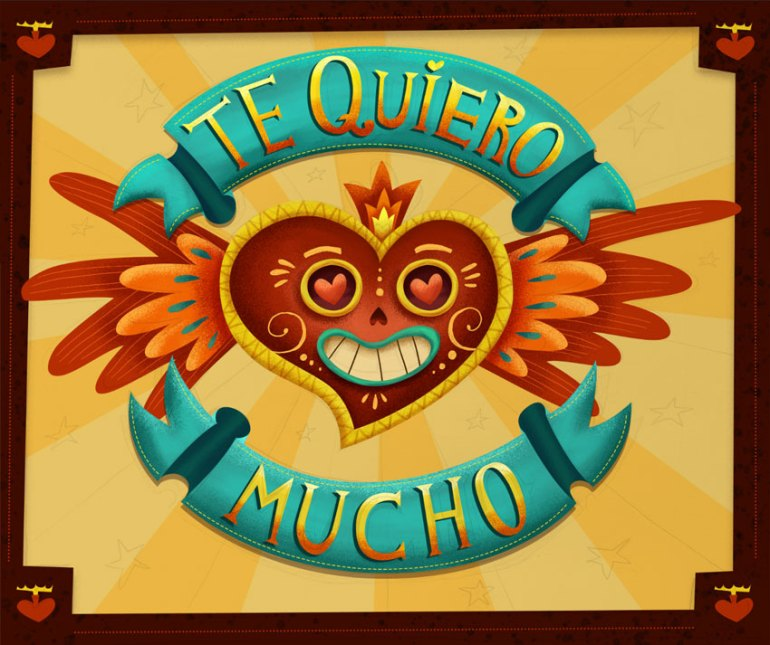 Mexican style lettering card intermediate result